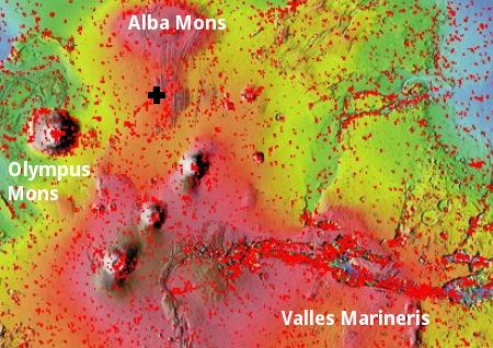 The volcano region of Mars
