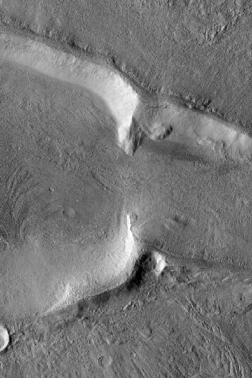 Eastern break in crater rim
