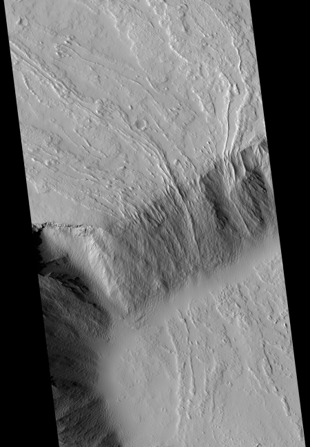 Lava flows off of Olympus Mons