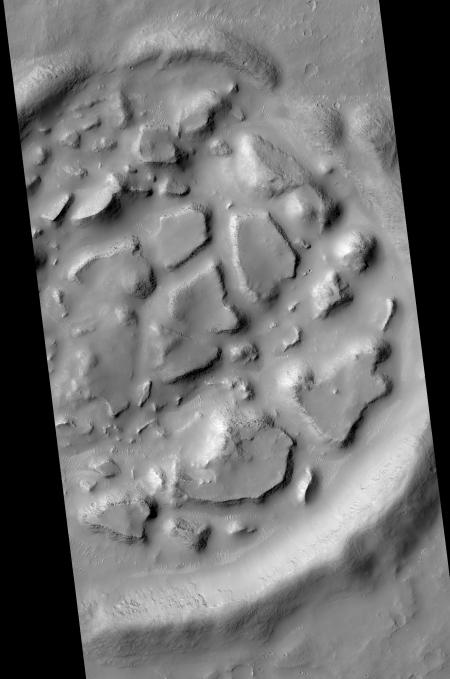 Chaos terrain inside a crater