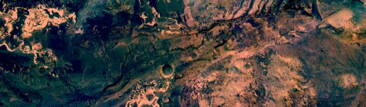 Uzboi Vallis entering Holden Crater
