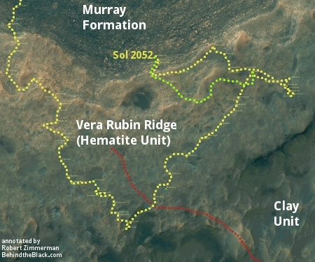 Curiosity's travels on and off Vera Rubin Ridge