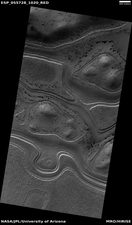 Inexplicable high southern latitude Martian terrain