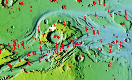 Overview showing flow channel and crater