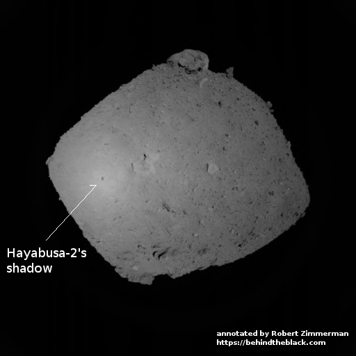 Ryugu, with Hayabusa-2's shadow