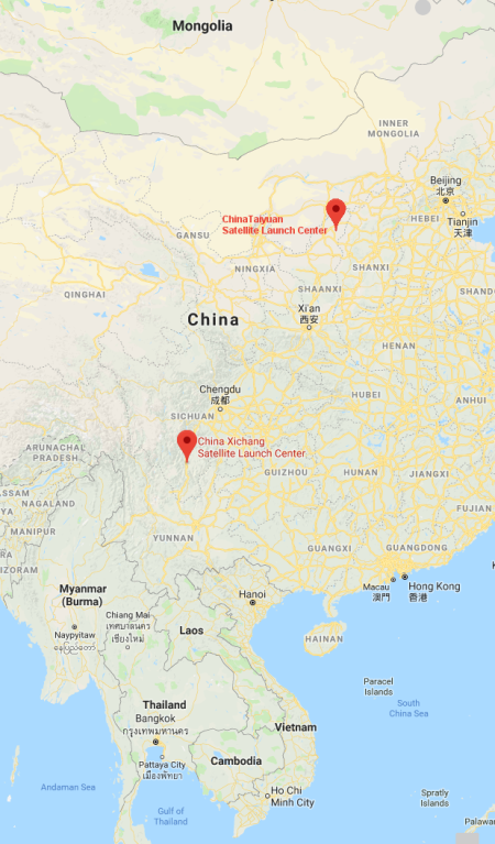 Locations of two of China's launchsites