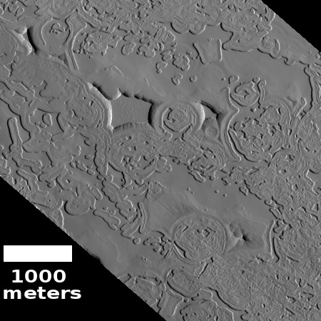 Swiss cheese on Martian south polar cap