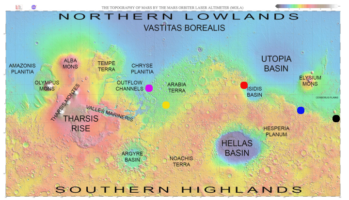 Rover landing sites