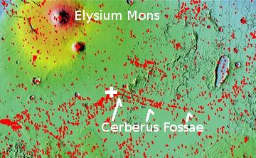 Elysium Mons and Cereberus Fossae