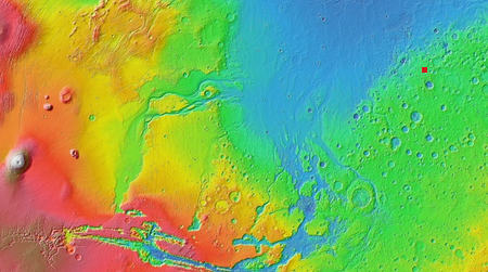 Overview map showing mud crack location on Mars