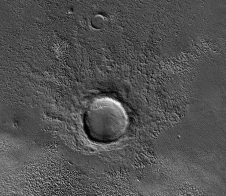 Crater with unequal ejecta