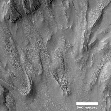 Glacier flow on Mars, with moraine