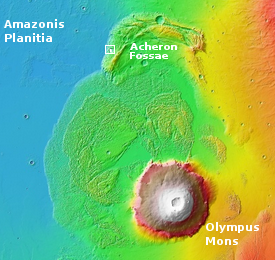 Overview showing crater's location on Mars