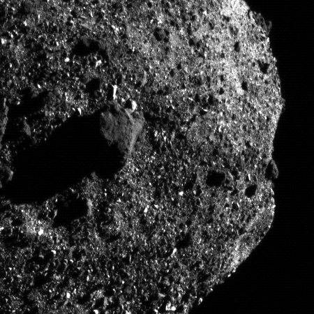 Close-up of Bennu's southern hemisphere