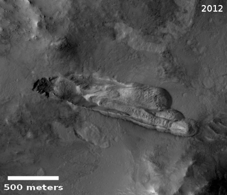 2012 image of Martian landslide