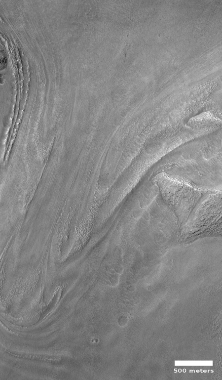 Flow down off of north wall of Baltisk Crater
