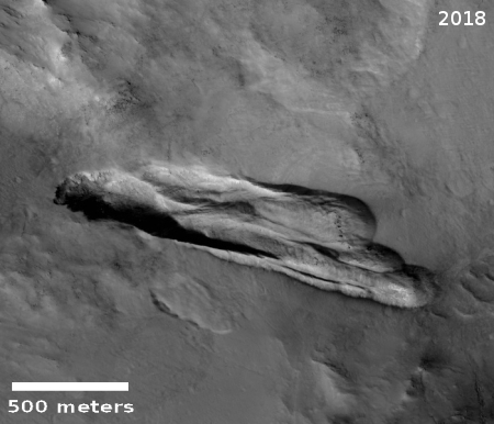 2018 image of Martian landslide