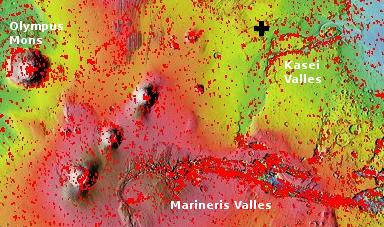 Mars overview map showing location of Kasei Valles