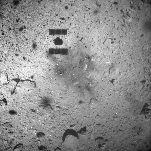 Surface of Ryugu 1 minute after touchdown