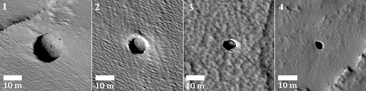 Four new pits on Mars