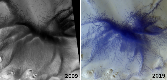 Comparison of dust devil tracks from 2009 to 2019