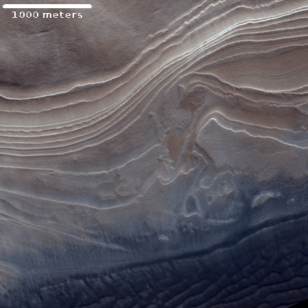 Layering in the west side of Burroughs Crater