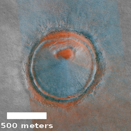 Fresh impact crater in northern lowlands