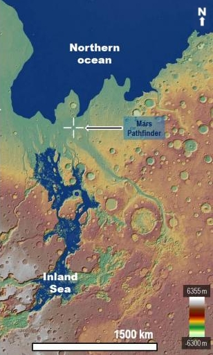 The intermittent ocean at the outlet to Marineris Valles