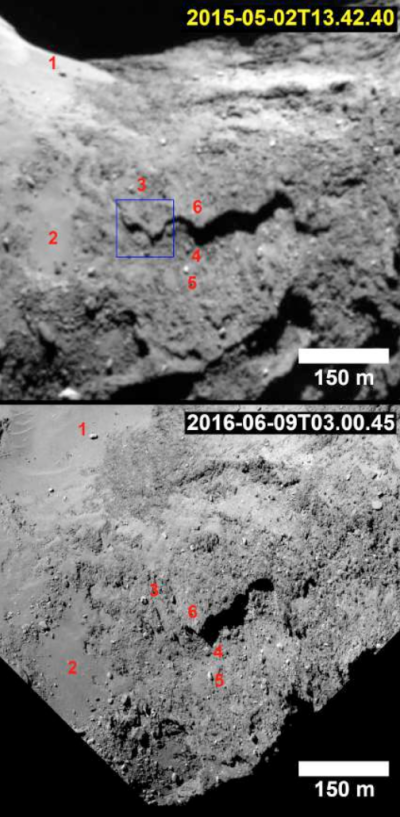 Changes on Comet 67P/C-G after outburst