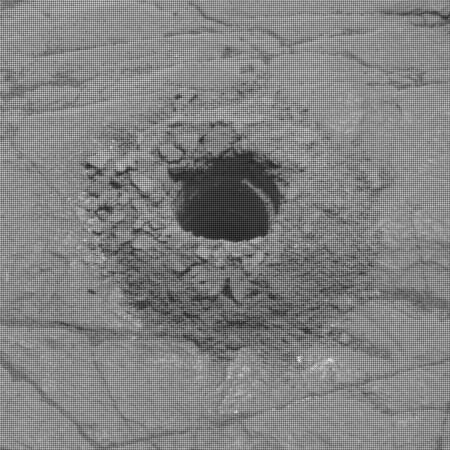 Curiosity drill hole in clay unit on slopes of Mount Sharp