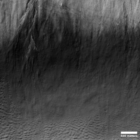 Frost in a gully on Mars