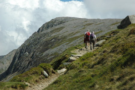 Approaching the halfway point in the hike up Cader Idris