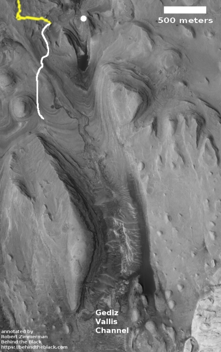 Gediz Vallis, with Curiosity's path indicated