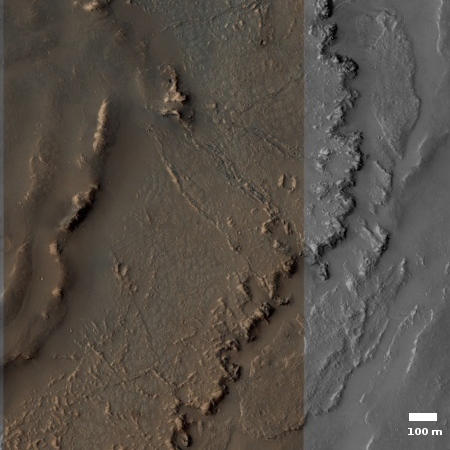 Close-up of the floor of Marineris Valles