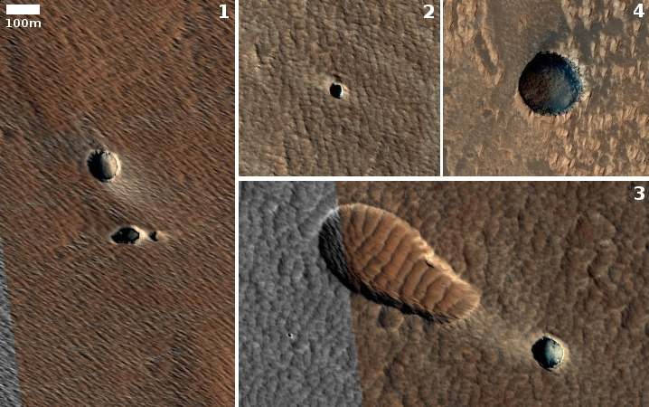 Pits near Arsia Mons in April MRO release
