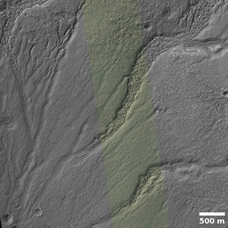 drainage networks in floor of crater