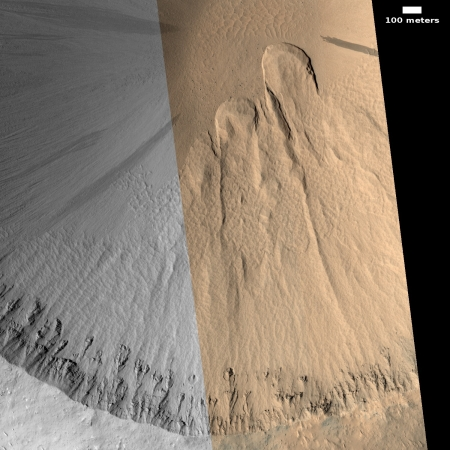 Mass wasting in Martian crater