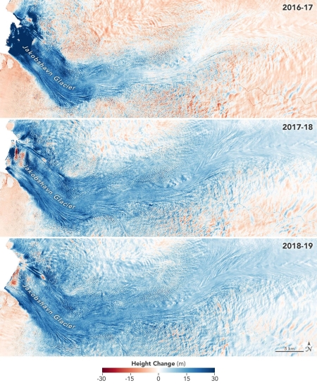 Greenland's growing Jakobshavn Glacier