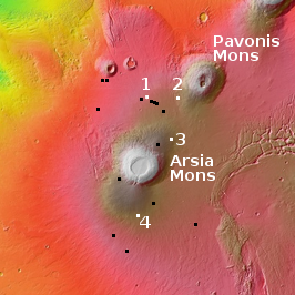 Overview map of pits near Arsia Mons