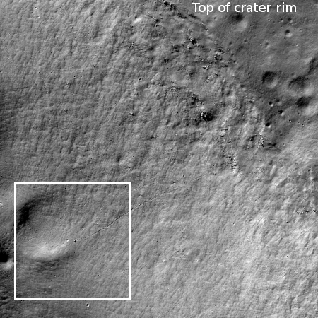 Wider image showing entire crater slope