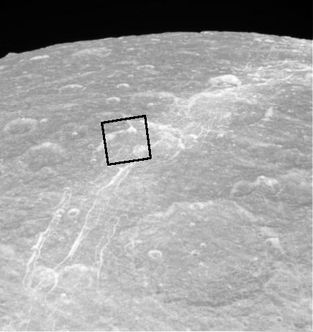 Cassini approaching Dione for the first time, October 11, 2005