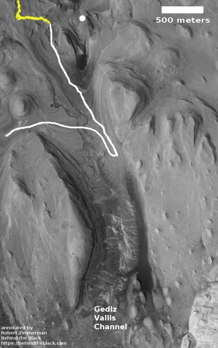Curiosity's planned route in Gediz Valles