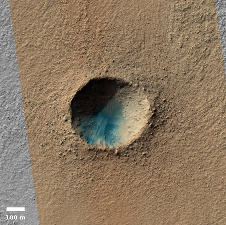 Crater in the bottom of Hellas Basin