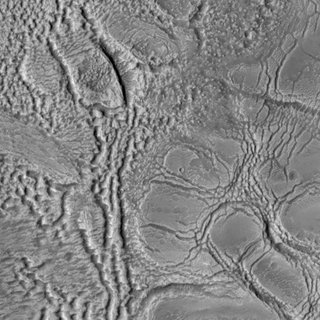 Close-up of an eroded glacier on Mars?