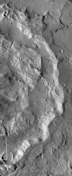 The crater holding an eroded glacier