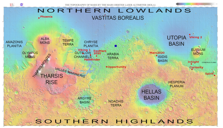 Map of Mars showing crater location