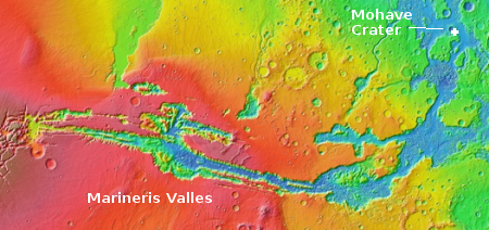 Mohave Crater at the outlet of Marineris Valles