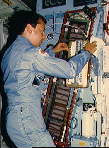 Charles Walker on the Space Shuttle in November 1985