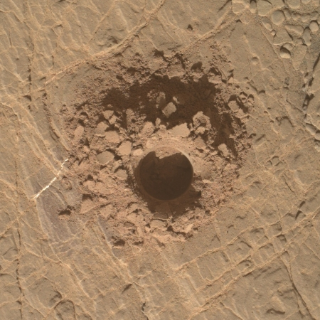 The most recent Curiosity drill hole