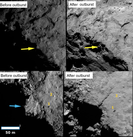 cliff collapse on Comet 67P/C-G